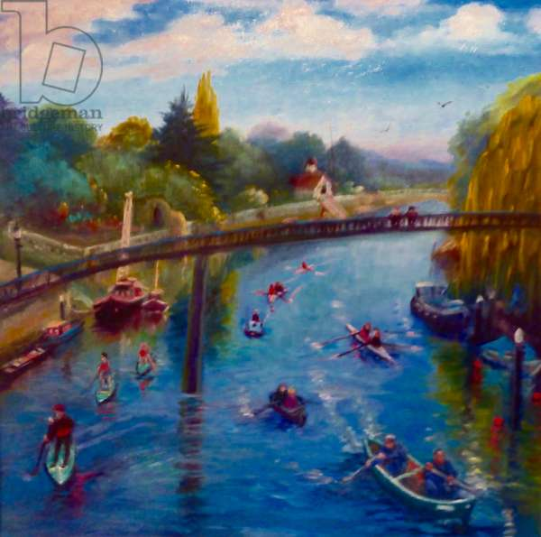 Twickenham Afloat, 2019, (oil on paper)