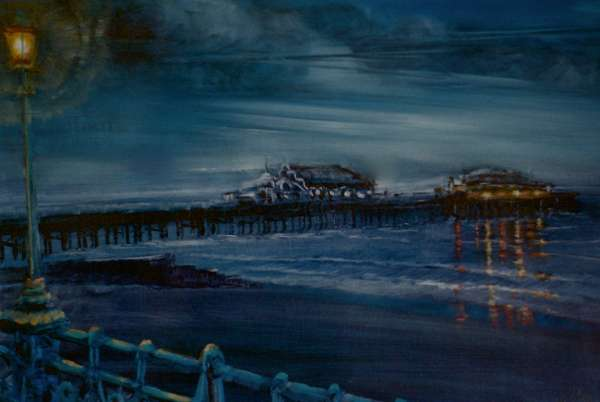 Brighton's Ghosts, 2001 (oil on paper) Old pier,lamp,lights