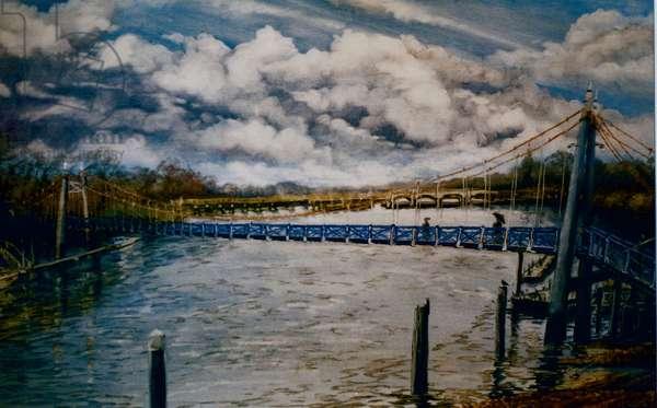 Teddington Lock, 2006 (oil on paper)