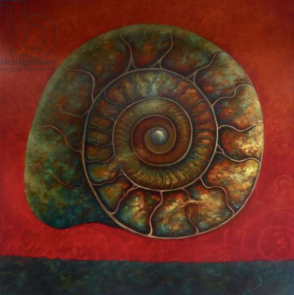 Ammonite Red and Green, 2020, (oil on canvas)