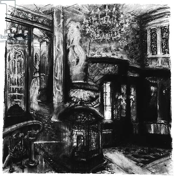 Savoy Shadows, 2010 (charcoal on paper) study for Savoy interior