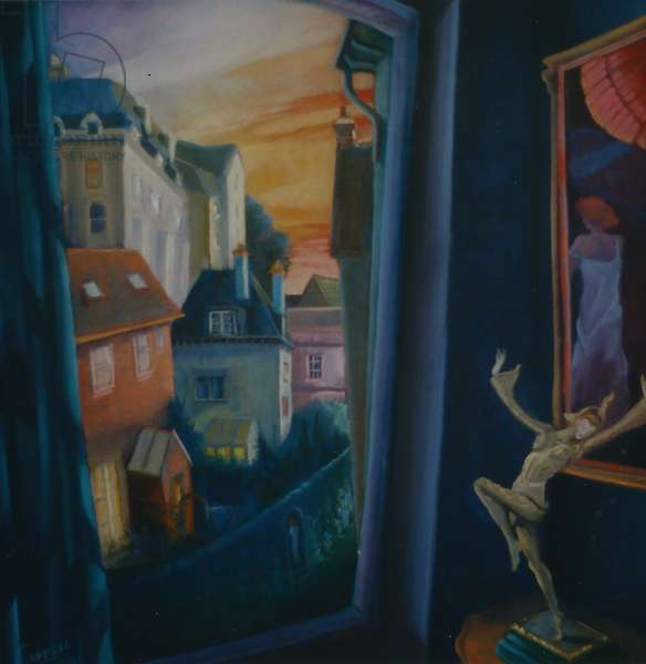 Seduction, 2000  (oil on panel)Canterbury skyline,Deco interior