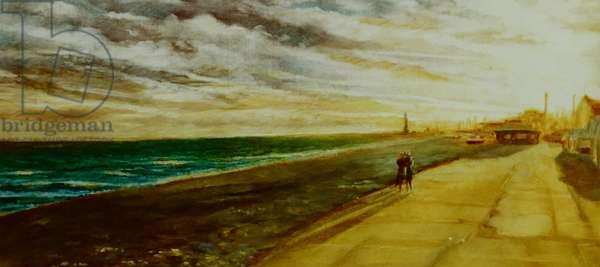 Golden Future, 2001 (oil on paper) Lovers on seashore