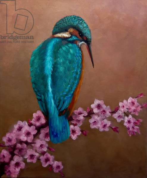 Kingfisher and blossoms, 2021 (oil on canvas)