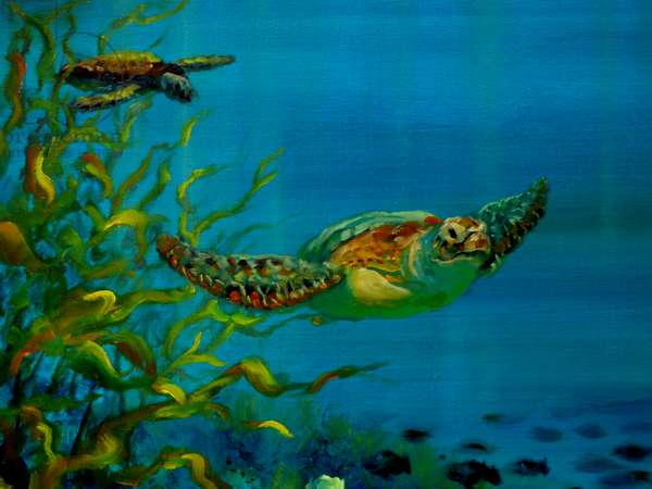 Green Turtle, 2018, (oil on canvas)