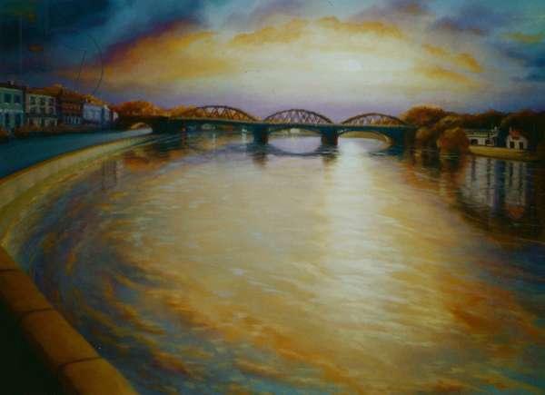 Barnes Bridge, 2006 (oil on canvas) Thames River sunset
