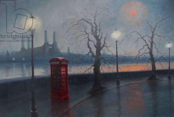 Battersea Mist 2012 (oil on canvas) Thames Embankment