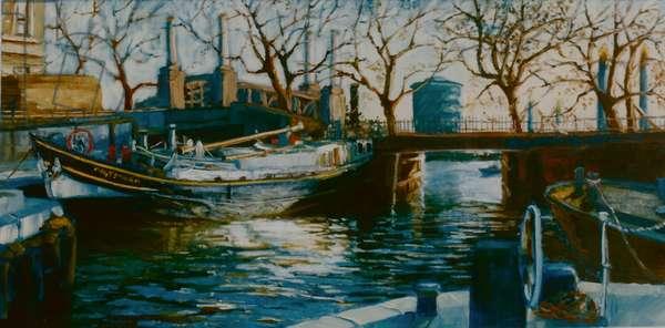 Grosvenor Dock, 2001 (oil on paper) Boat moored in Thames Dock