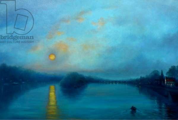 From the Bridge (Richmond), 2018, (oil on canvas)