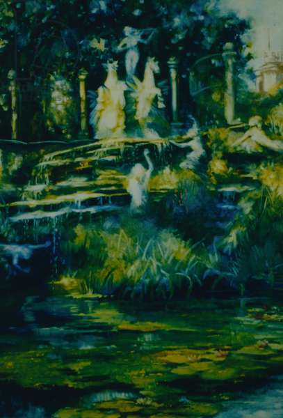 Folly 2002 (oil on paper) Twickenham Statues and fountain