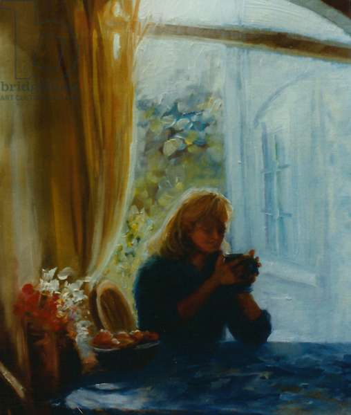 The Visitor, 2001 (oil on panel) Girl holding cup in sun
