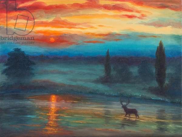 Pen Pond Richmond Park, 2017, (oil on canvas)
