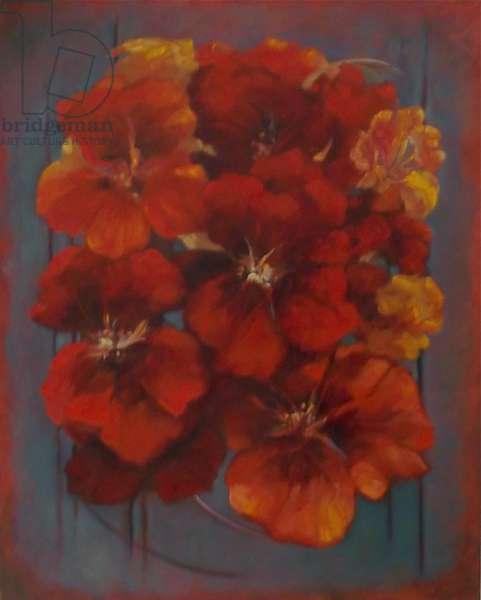 Nasturtiums 2012 (oil on canvas) Flowers