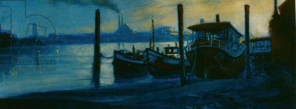 Chelsea Dusk 2002 (oil on paper)Thames houseboats