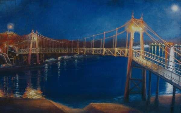 Teddington Lock, 2005 (oil on canvas) Moonlight