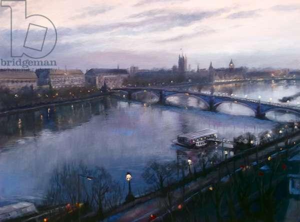 Thames Dawn 2013 (oil on canvas) London Thames