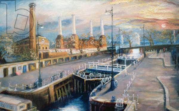 Grosvenor Dock, 1998 (oil on paper) Pimlico Embankment