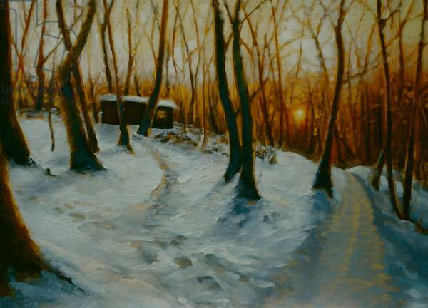 Snowy Woods 2002 (oil on panel) Sunset