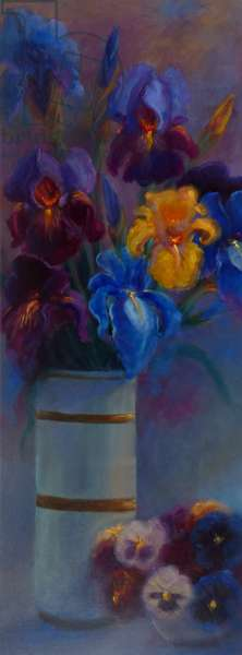 Irises and Pansies, 2018, (oil on canvas)