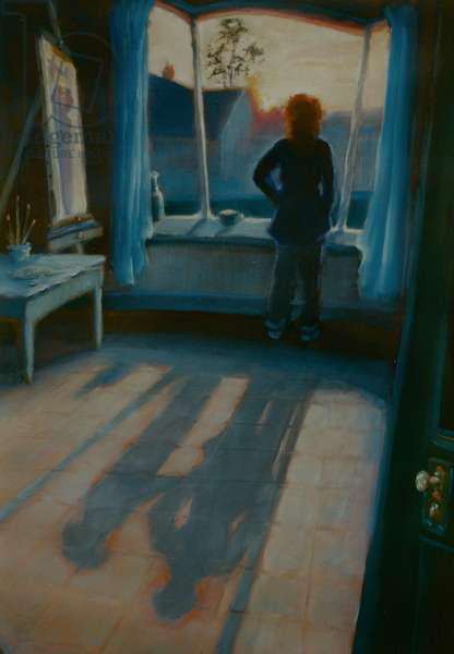 Never Alone 2002 (oil on panel) Figure at window with shadows,ghost