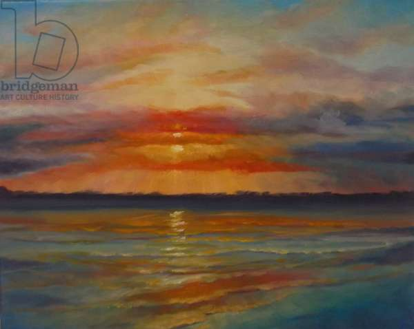 Sunset, 2013 (oil on canvas) Seascape