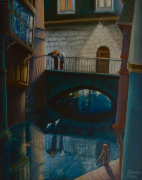 Two Ships, 2000 (oil on panel) Couple watching paper boats, Canterbury