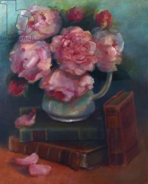 Peonies and Books, 2020 (oil on canvas)