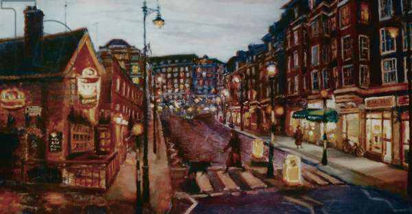 Ebury Bridge Rd. 2001 (oil on paper) Pimlico evening street
