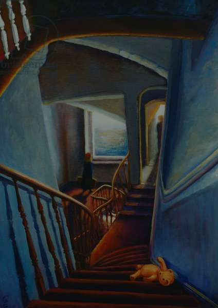 Leaving Home 2000 (oil on panel) staircase