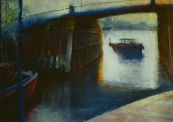 Shelter, 2000 (oil on canvas) Thames lighter Pimlico dock