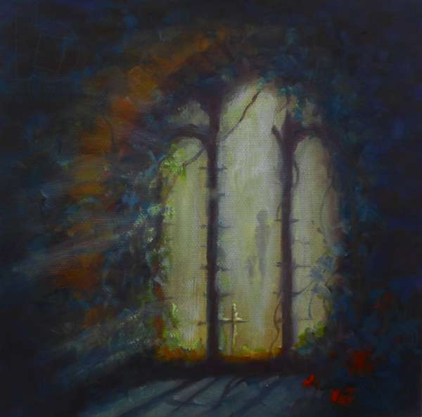 Day Light, 2018; (oil on canvas) Light through a ruined church window,