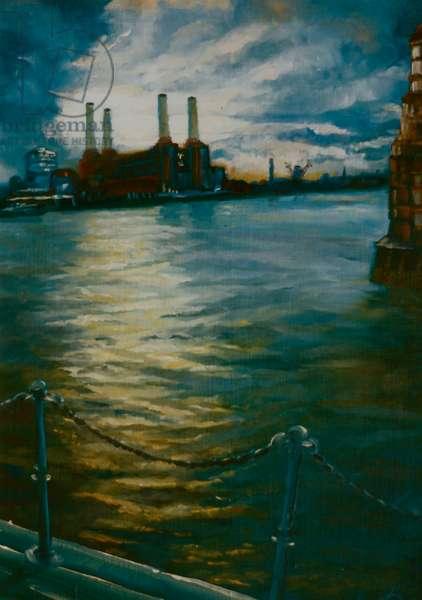 Towards Battersea, 1999 (oil on panel)