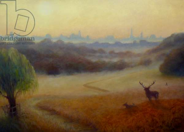 Richmond Park Autumn Morning, 2020, (oil on canvas)