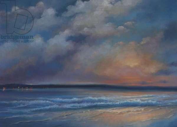 Blue Velum 2013 (oil on canvas) Beach & clouds