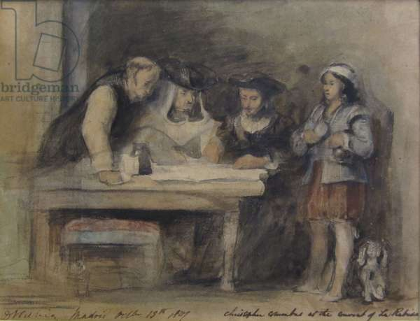 Christopher Columbus at the Convent of La Rabida, 1827 (w/c on paper)