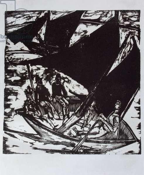 Segelboote bei Fehmarn, 1914 (woodcut print)