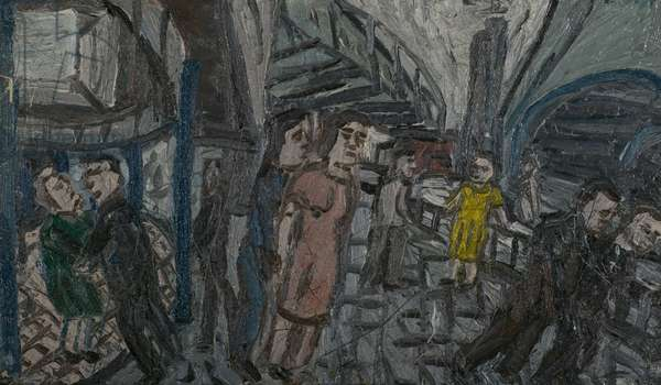 Outside Kilburn Underground, Summer 1976 (oil on board)