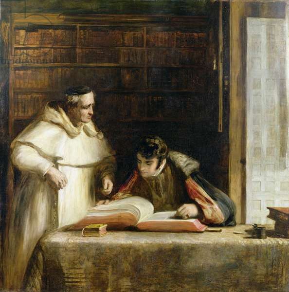 Washington Irving (1783-1859) Researching Columbus in the Convent of Rabida, 1828-29 (oil on canvas)