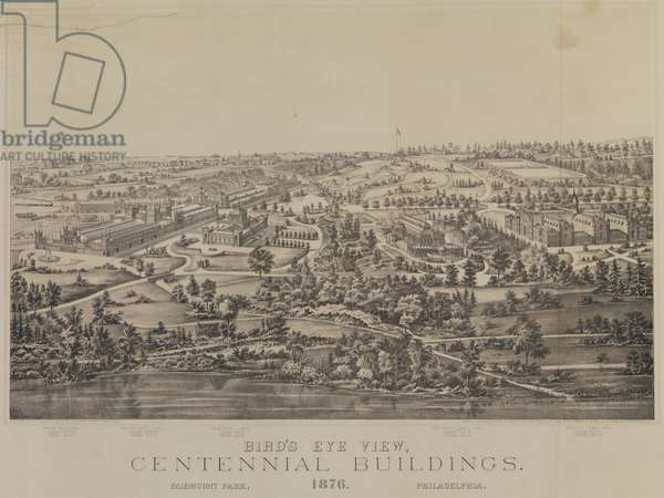 Bird's Eye View of the Centennial Buildings 1876 Fairmont Park, print made by H. J. Touday & co., c.1875 (litho)