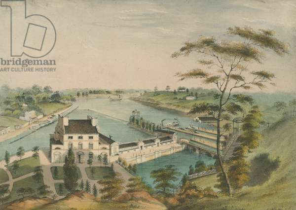 A view of the Fairmount Waterworks with Schuylkill in the distance, taken from the mount, c.1838 (hand-coloured litho)