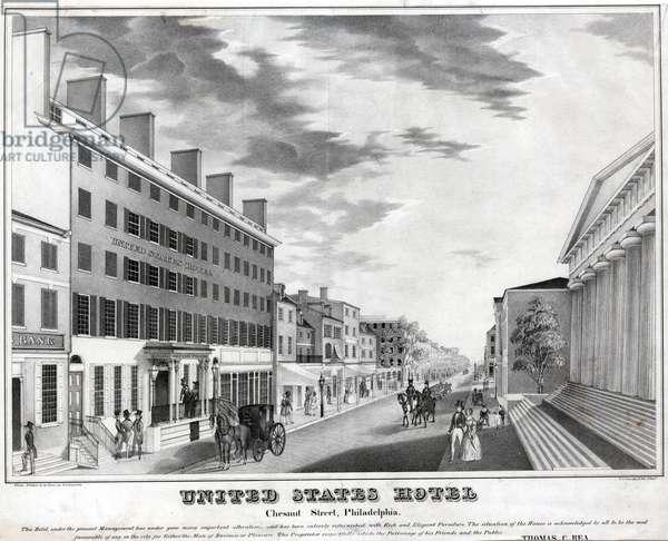 United States Hotel Chesnut [sic] Street, Philadelphia, printed by Peter S. Duval (c.1804-1886), c.1840 (litho)