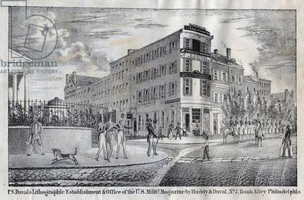 P. S. Duval's lithographic establishment & office of the U. S. Mility. Magazine by Huddy & Duval, No. 7, Bank Alley, Philadelphia, 1839 (litho)