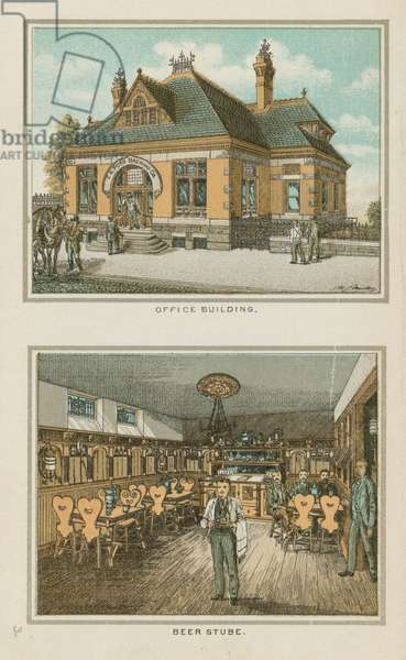 Office Building and Beer Stube, F.A. Poth Brewing Company, Philadelphia, c.1891 (chromolitho)