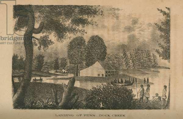 Landing of Penn, Dock Creek, printed by Kennedy & Lucas, 1833 (litho)