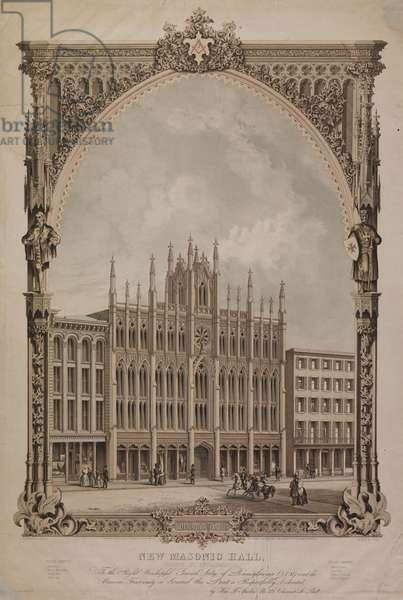 New Masonic Hall, Chestnut Street, Philadelphia, 1855 (litho)
