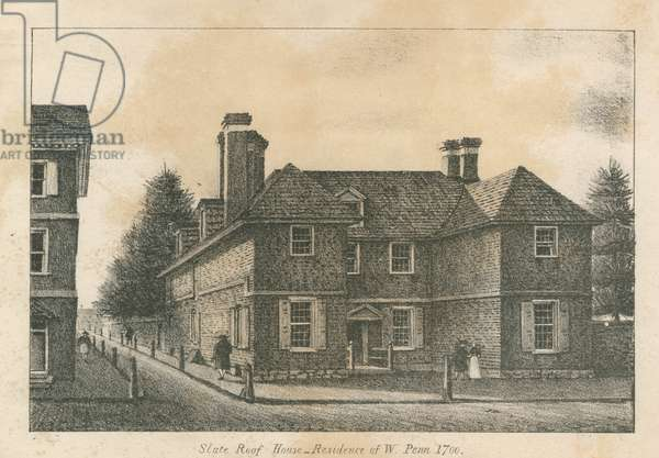 Slate roof house _ Residence of W. Penn 1700, printed by Kennedy & Lucas's Lithography, 1830 (litho)