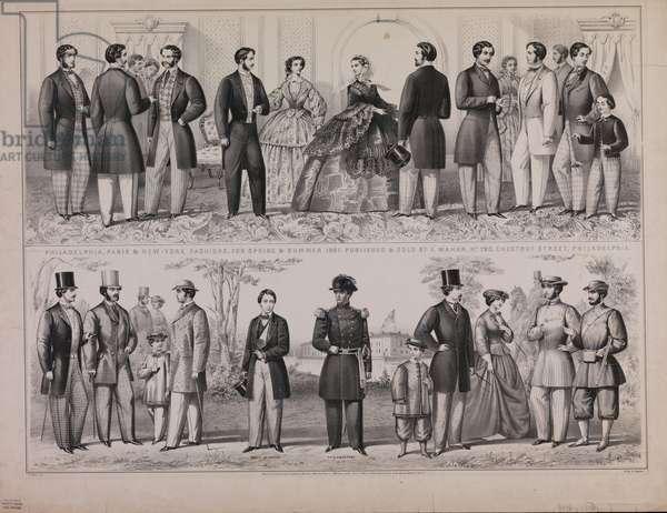 Philadelphia, Paris & New-York fashions, for spring & summer 1861, 1861 (litho)