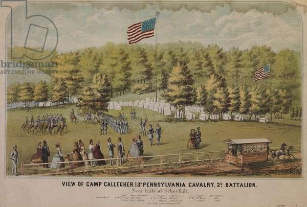 View of Camp Gallegher [sic] 13th Pennsylvania Cavalry, 2d Battalion, near Falls of Schuylkill, c.1862 (chromolitho)