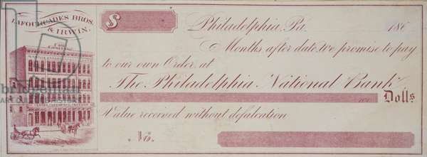 Banknote vignette, Lafourcade, Bros. & Irwin, printed by Stein & Jones, c.1866 (litho printed in purple ink mounted on album page)