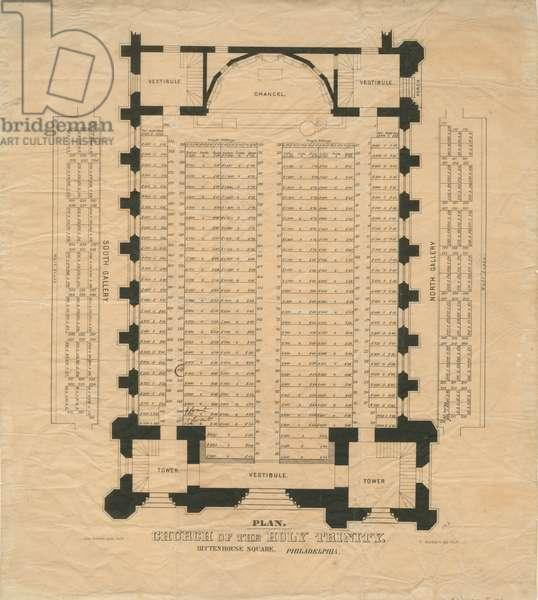 Church of the Holy Trinity, Rittenhouse Square, Philadelphia, c.1859 (litho)
